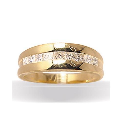 Demi-alliance jonc diamants , modèle 3