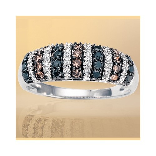 Bague diamants blancs, bruns et noirs 3
