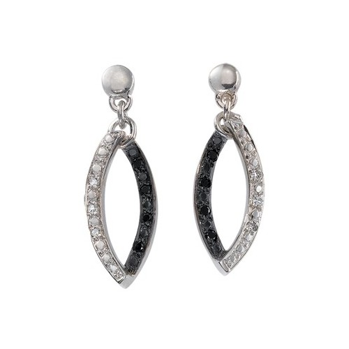 Boucles d'oreilles diamants blancs et noirs