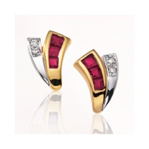 Boucles d'oreilles Rubis et Diamants 1