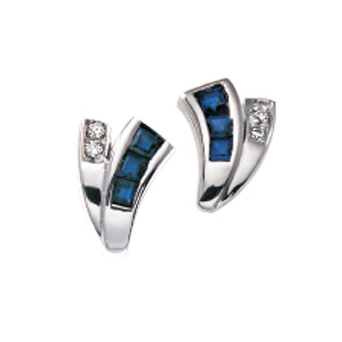 Boucles d'oreilles saphirs et diamants 1