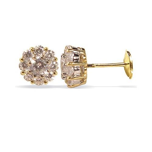 Clous d'oreilles diamants sertis griffes