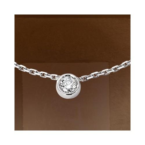 Collier pendentif diamant serti clos