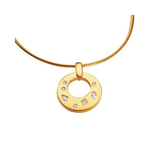 Pendentif rond en or jaune et diamants