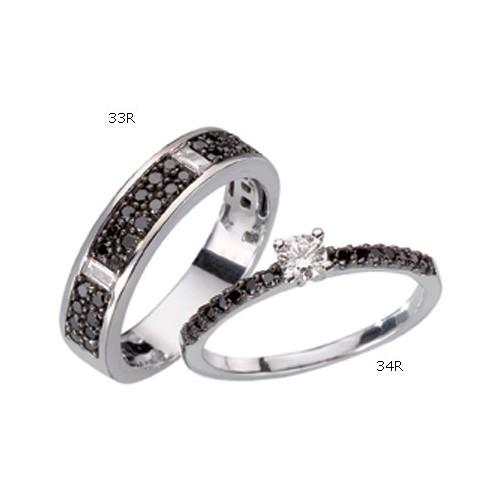 Bague Diamants Blancs et Noirs 34R