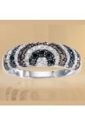 Bague diamants blancs, bruns et noirs 1