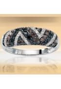 Bague diamants blancs, bruns et noirs 2