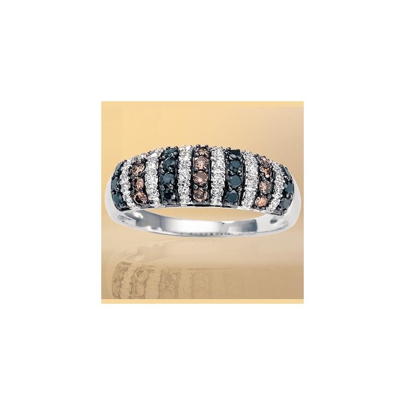 Bague diamants blancs, bruns et noirs 3