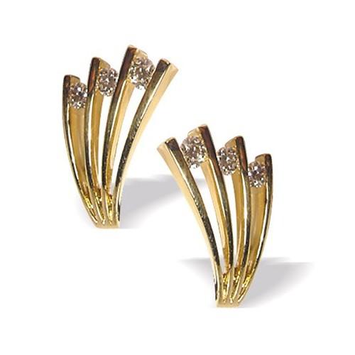 Boucles d'oreilles forme éventail et diamants