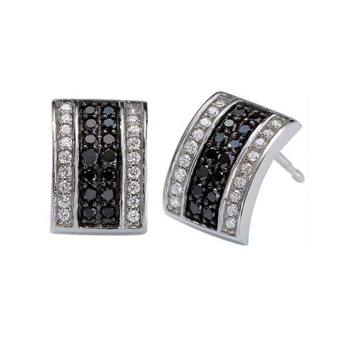Boucles d'oreilles diamants  noirs