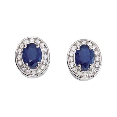 Boucles d'oreilles Saphir et Diamants