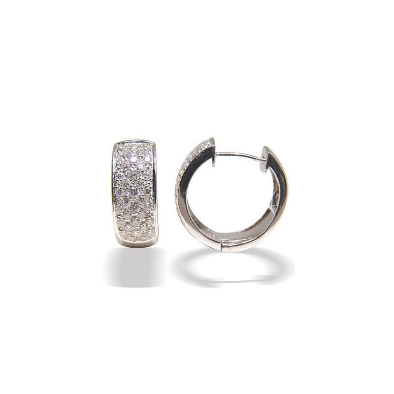 Boucles d'oreilles or gris pavage diamants