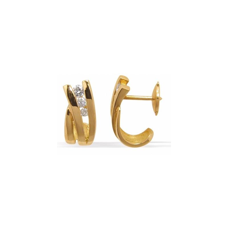 Boucles d'oreilles or jaune 3 diamants