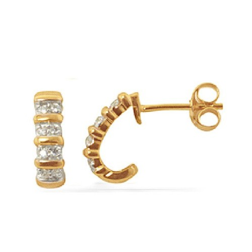 Boucles d'oreilles en or jaune.4 diamants.