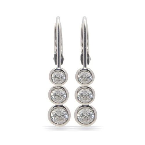 Dormeuses or gris 3 diamants
