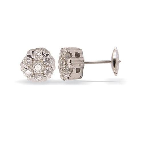 Clous d'oreilles forme fleur diamants