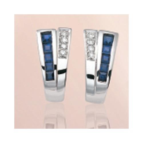 Boucles d'oreilles saphirs et diamants 2
