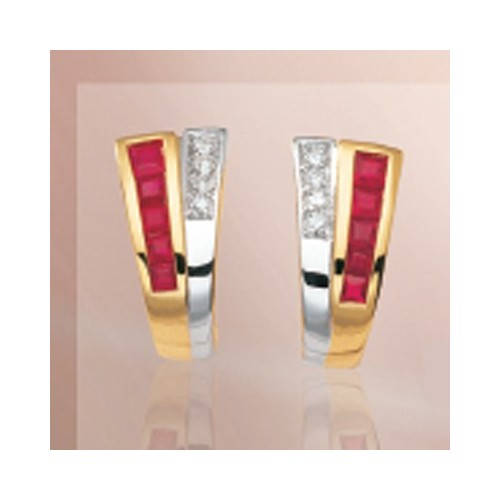 Boucles d'oreilles Rubis et Diamants 2