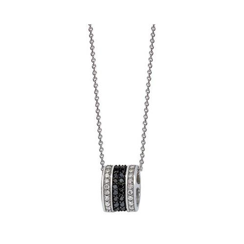 Collier pendentif diamants blancs et noirs