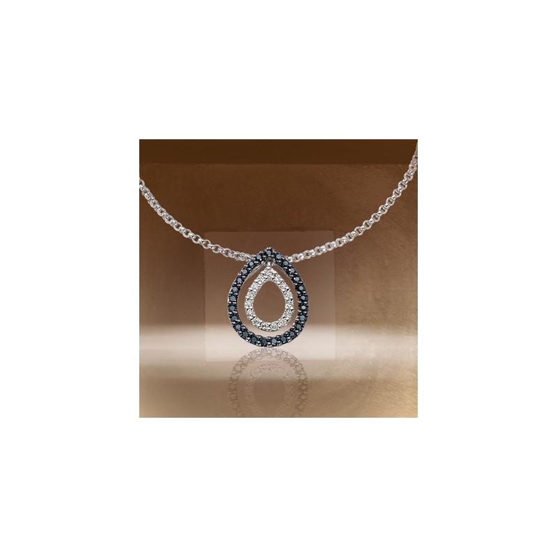 Collier diamants blancs et noirs