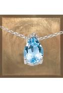 Collier pendentif topaze bleue