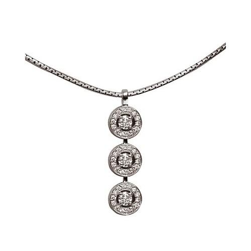 Pendentif 3 diamants sertis avec brillants