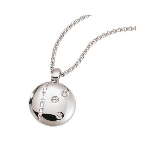 Pendentif rond en or gris orné diamants
