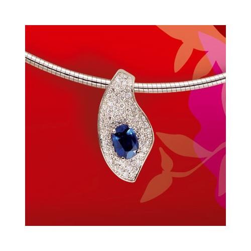 Pendentif saphir et diamants